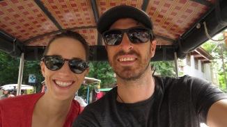 Cambodia man and woman in tuk tuk selfie